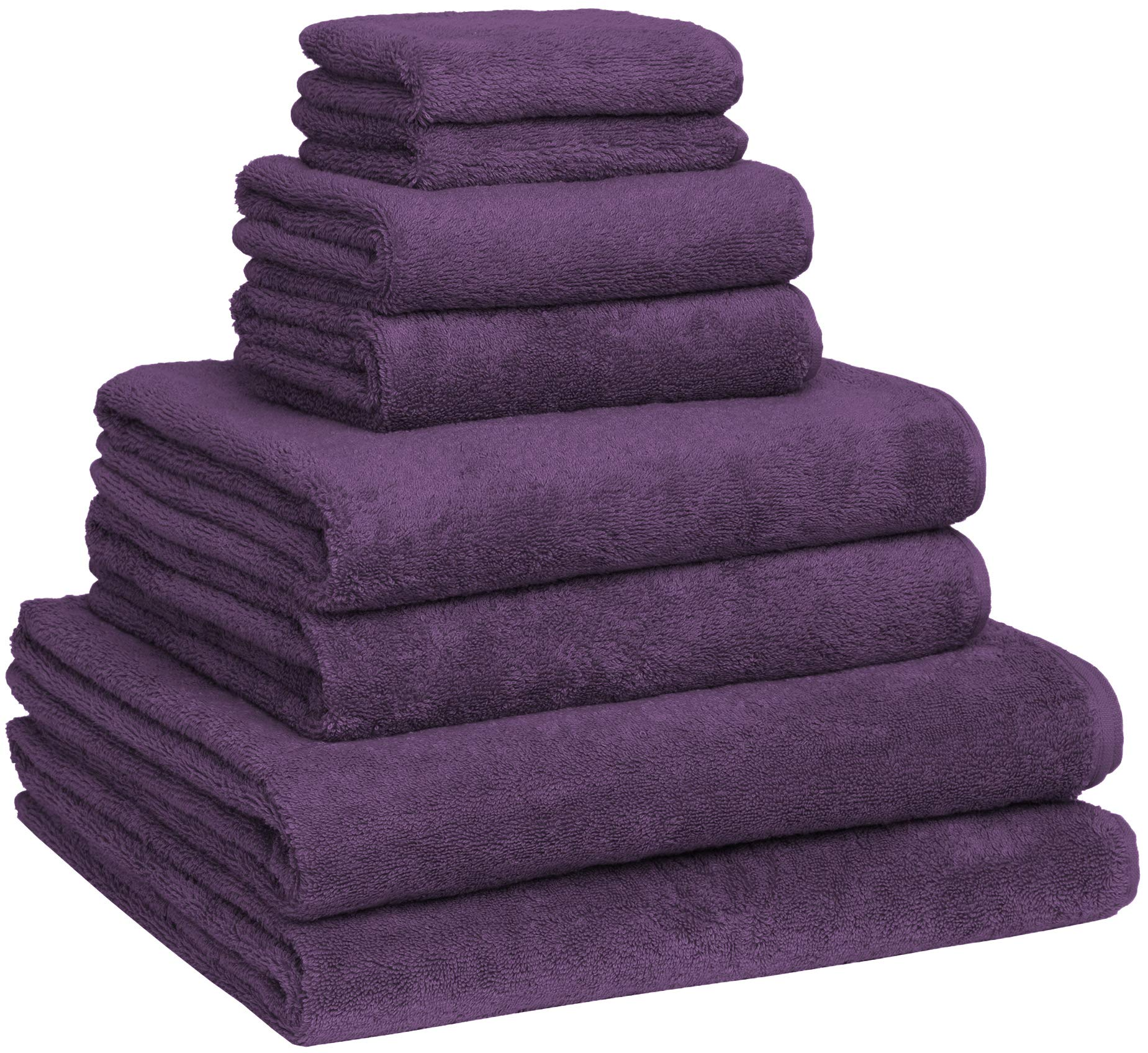 Home and Plan Turkish Cotton Bath Towel Set - Pack of 8 with 2 Bath Sheets (30x60) - Plum