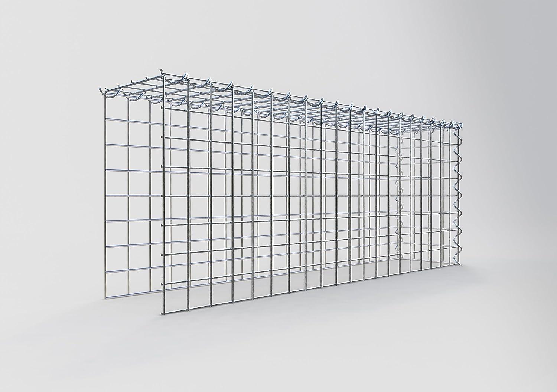 GABIONA Cesta de piedra de gavión rectangular, malla de 5 x 5 cm, profundidad de 20 cm, cesta de cultivo tipo 4, cierre de espiral, galvanizado (100 x 40 x 20 cm)
