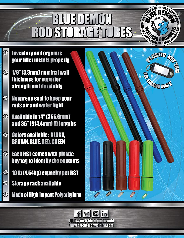 "Rod Storage Tubes 14/"" Blue Demon 4 Packs green"
