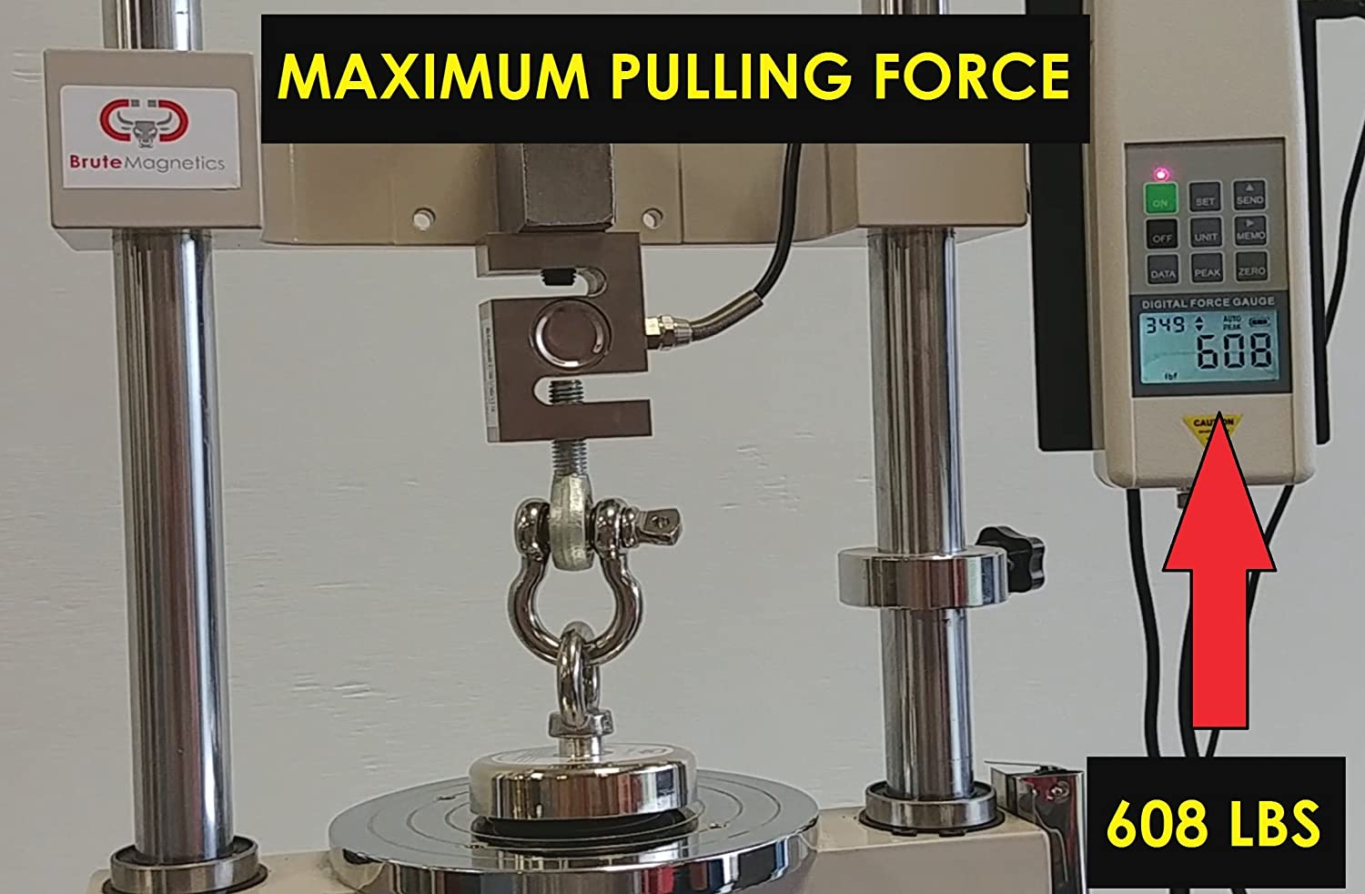 375 lbs Pulling Force 2.95 Diameter Brute Magnetics Round Neodymium Magnet with Eyebolt Magnet Fishing