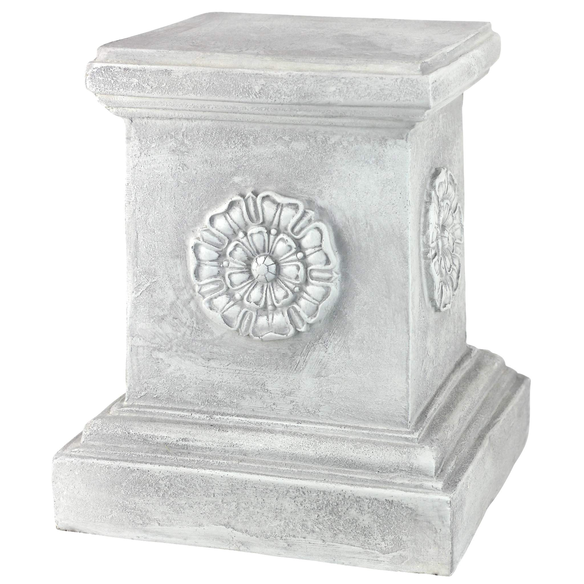 Design Toscano English Rosette Sculptural Garden Plinth Base Riser, Large 13 Inch, Polyresin, Antique Stone by Design Toscano (Image #1)
