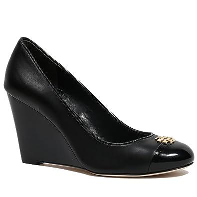 4cbddd58ec9927 Tory Burch Jolie 85MM Closed Toe Wedge Women s Leather Shoes Black (10 B(M