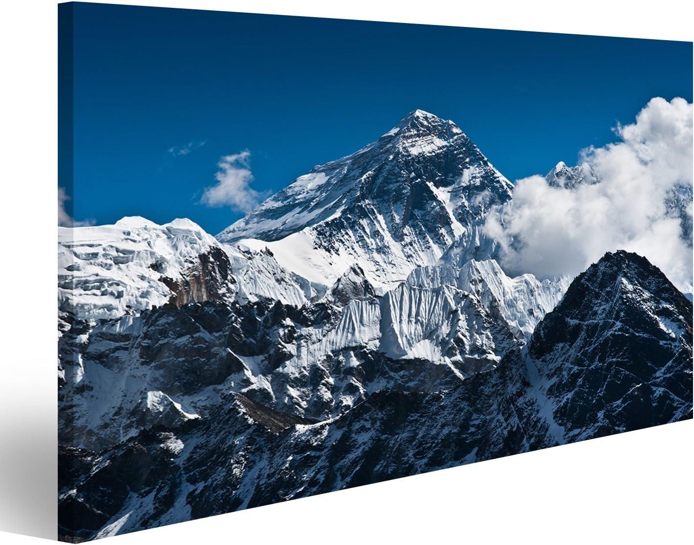 islandburner Cuadro Cuadros Monte Everest Montaña Pico - la Cima del Mundo (8848 m) Impresión sobre Lienzo - Formato Grande - Cuadros Modernos