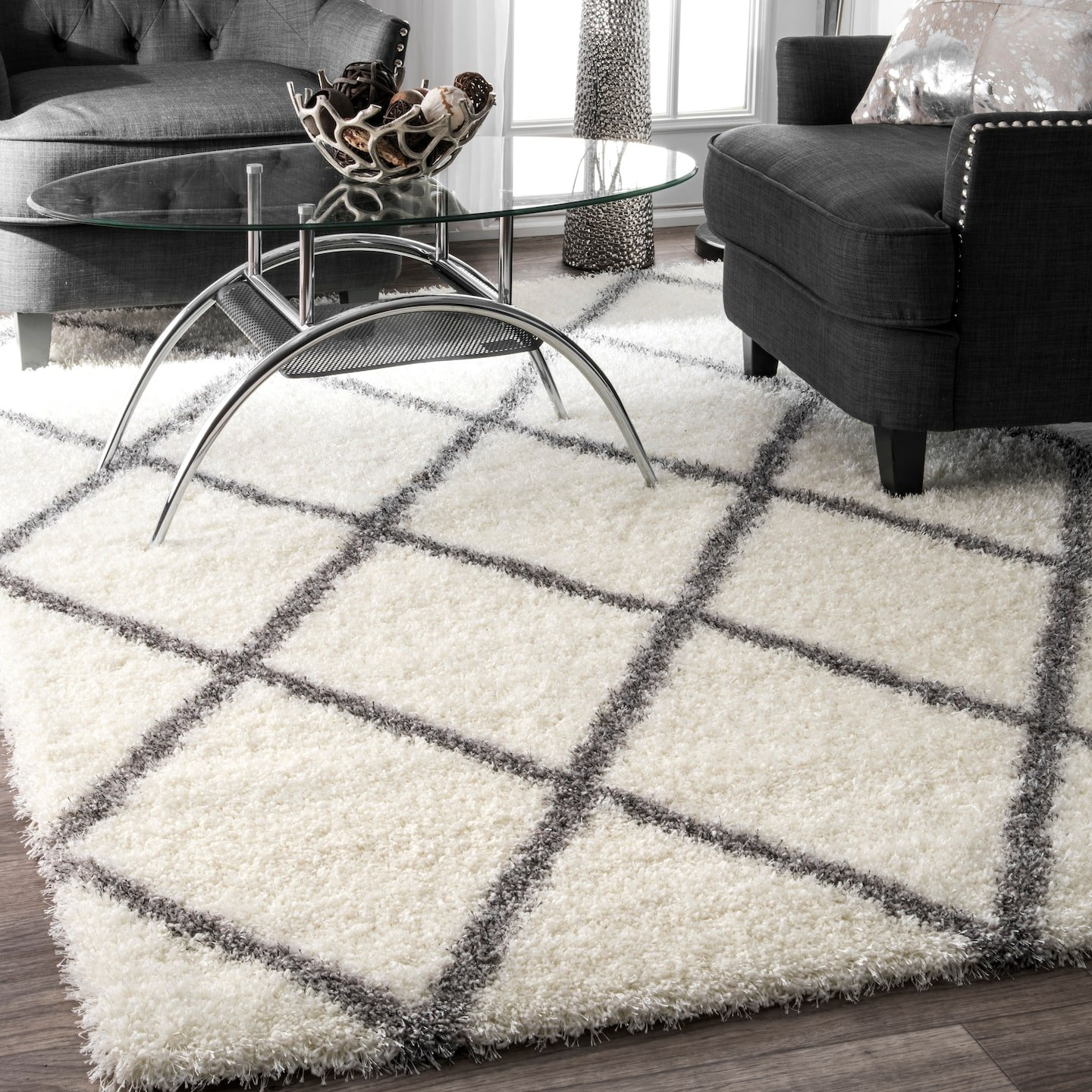 nuLOOM Diamond Soft Plush Shag Rug, 4 x 6 , Grey