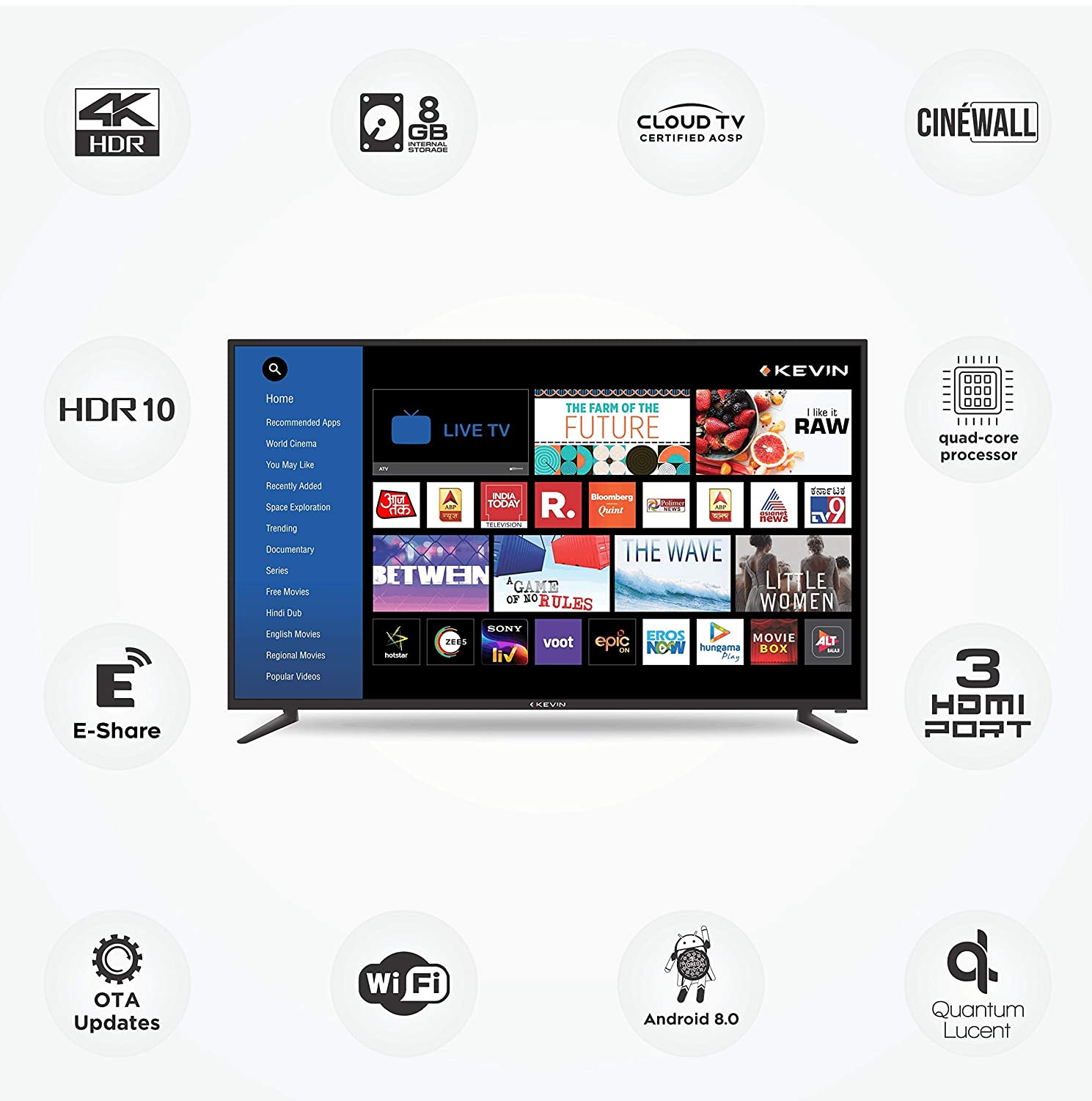 Kevin 124 cm (49 inches) 4K Ultra HD Smart LED TV