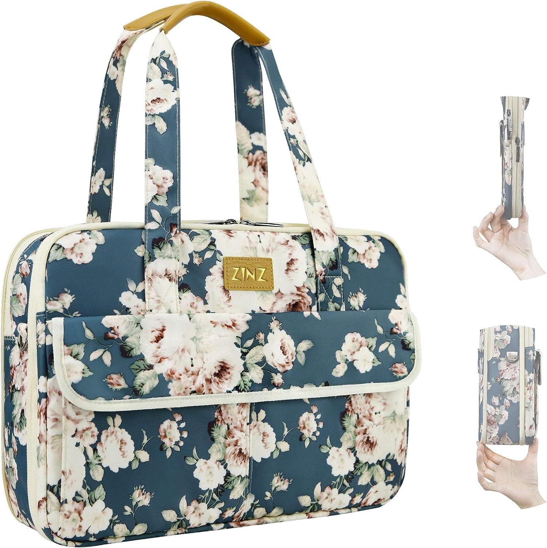 Super Slim & Expandable 14-15 Inch Laptop Tote bag, Anti Theft Shoulder Bag Water-Repellent Laptops Briefcase Case Teacher Bag Gifts for Women, (3.7L-10.3L), Peony Blue