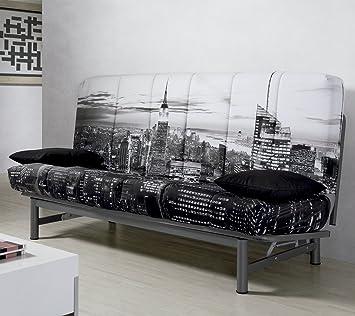 Sofa cama sistema clic clac tapizado New York: Amazon.es: Hogar