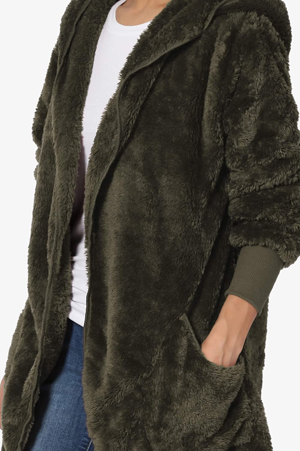 TheMogan S~3X Oversized Hooded Draped Pocket Cardigan Soft Fuzzy Plush Coat