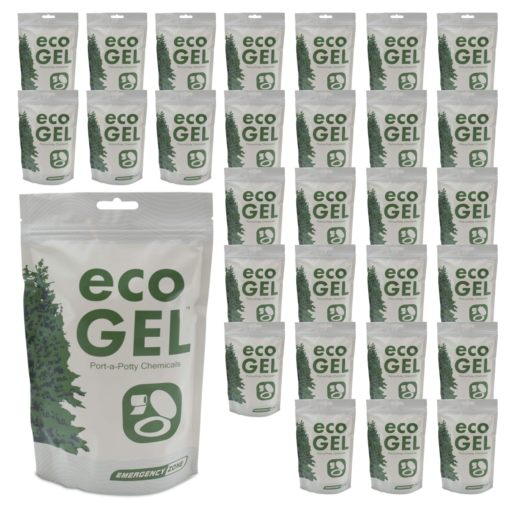 Eco Gel Port-A-Potty and Emergency Toilet Chemicals, Eco-Friendly Liquid Waste Gelling and Deodorizing Powder. 30 Pack