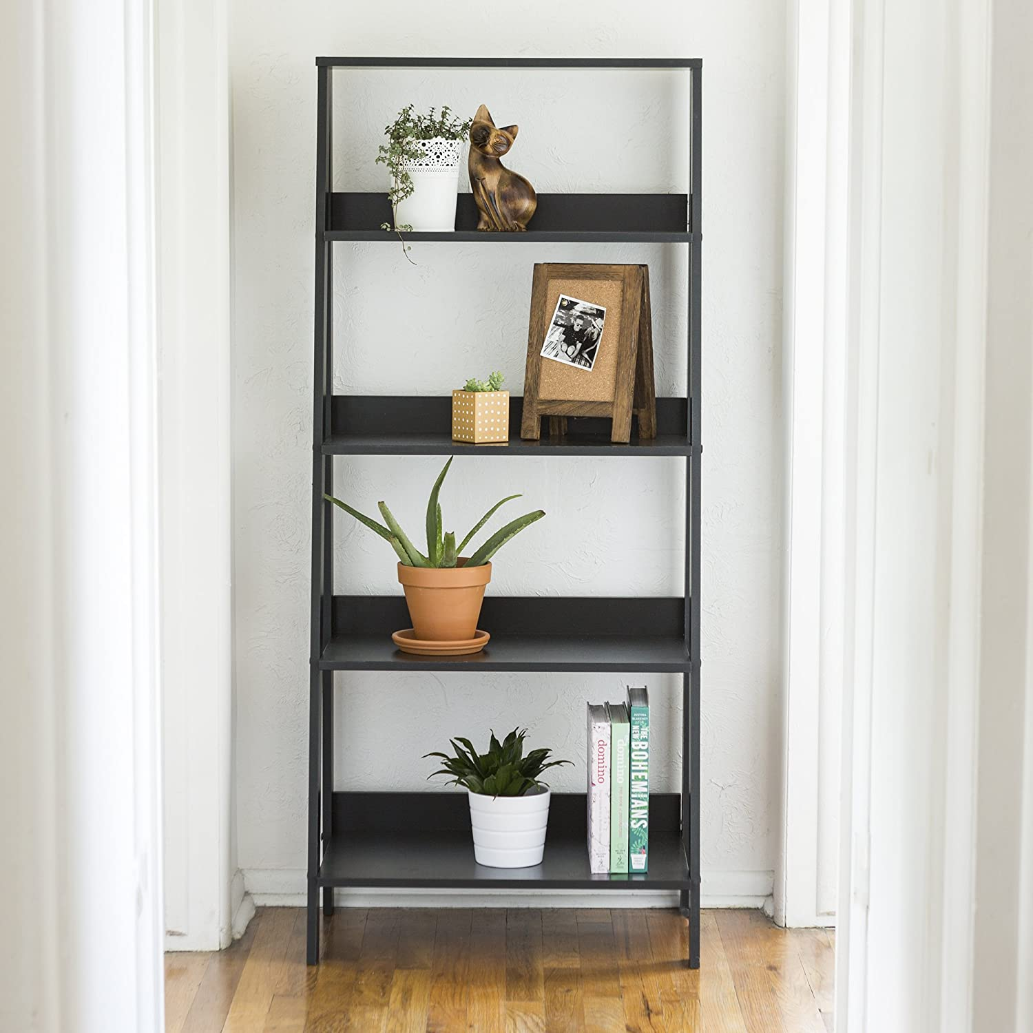 WE Furniture 55 Wood Ladder Bookshelf – Black