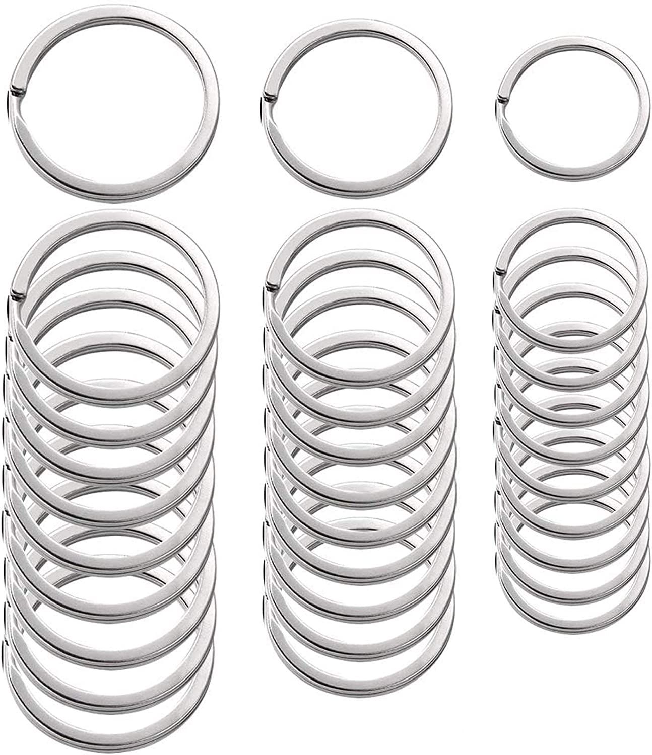 30 Pieces Flat Key Rings Metal Keychain Rings Split Rings Flat for Home Car Quality Keyring Ring Attachment - Nickel Plated, 3 Sizes