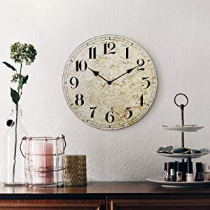 Large Farmhouse Wall Clock, Rustic Quiet 12'' Reclaimed Wood Map Clocks, Battery Operated, Coindivi Vintage Round Wall Clock Decor with Big Arabic for Kitchen, Living Room, Office, Bedroom, Classroom