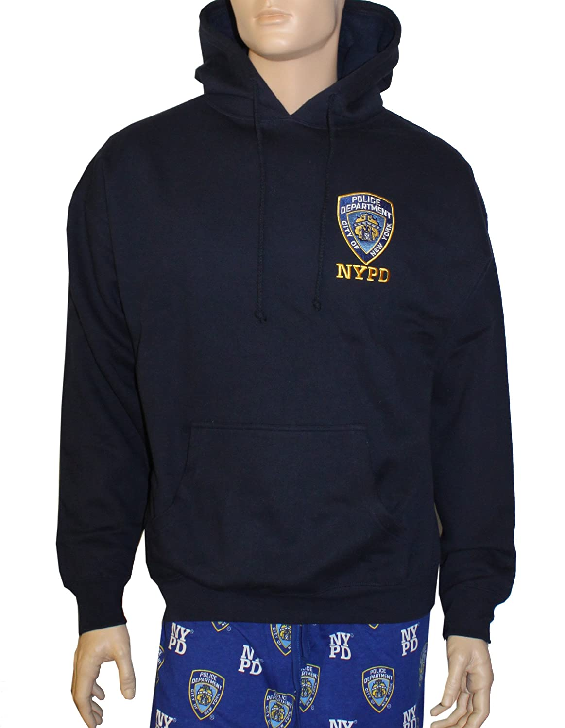 959b0c857 Amazon.com: NYC FACTORY NYPD Embroidered Logo Hoodie Sweatshirt Navy Blue:  Clothing