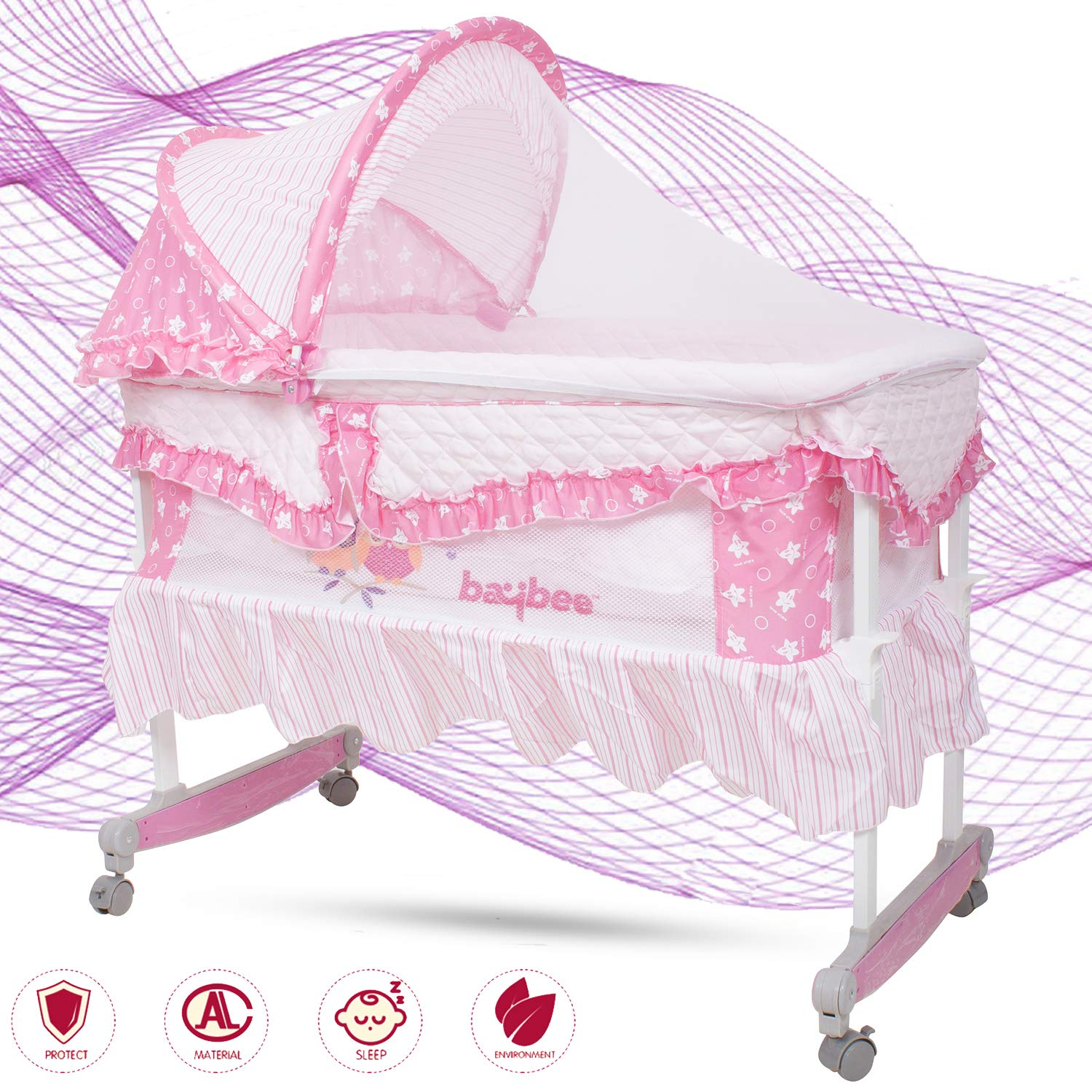 Baybee Day Dreams New Born Baby Cradle Cum Rocker with Mosquito Net- Canopy and Wheels for New Born Infants (Pink)