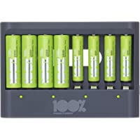 100% PeakPower Cargador de Pilas AAA y AA - Incluye 4 Pilas Recargables AAA de 800 mAh y 4 Pilas Recargables AA de 2300 mAh | Precargadas Listas para Usar | Indicador de Carga LED