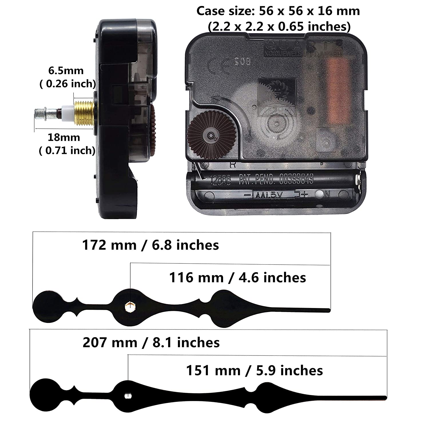 TIKROUND Youngtown 12888 Quartz DIY Wall Clock Movement Mechanism Battery Operated DIY Repair Parts Replacement