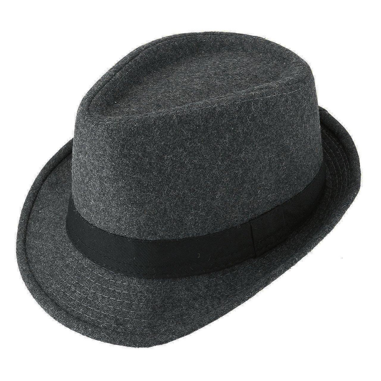 Unisex Classic Manhattan Fedora Hat Black Band Fashion Casual Jazz Wool Cap (Grey)