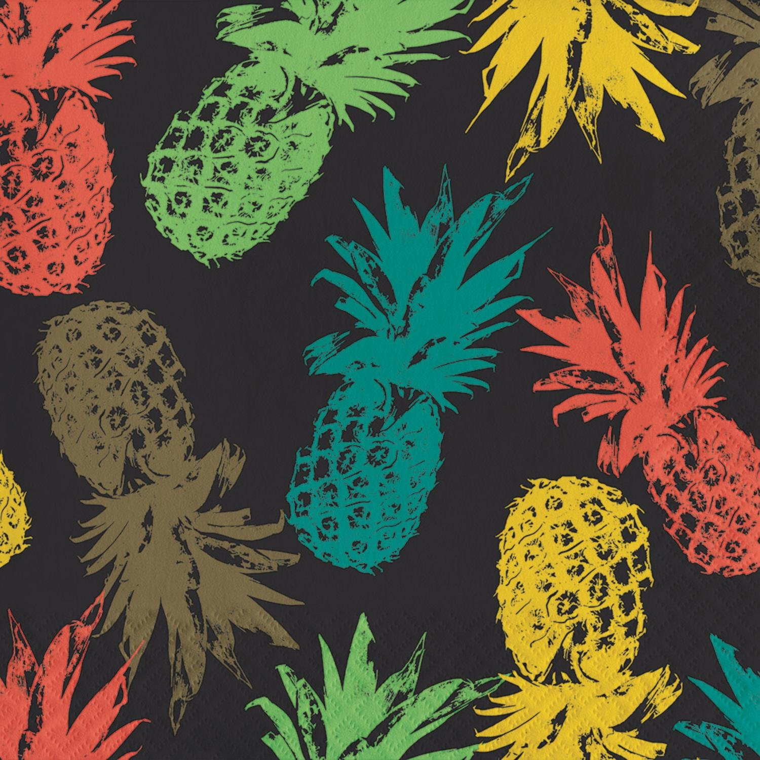 Pack of 192レッド、グリーンとイエローハバナPineapples 3本Luncheon Napkins 6.5