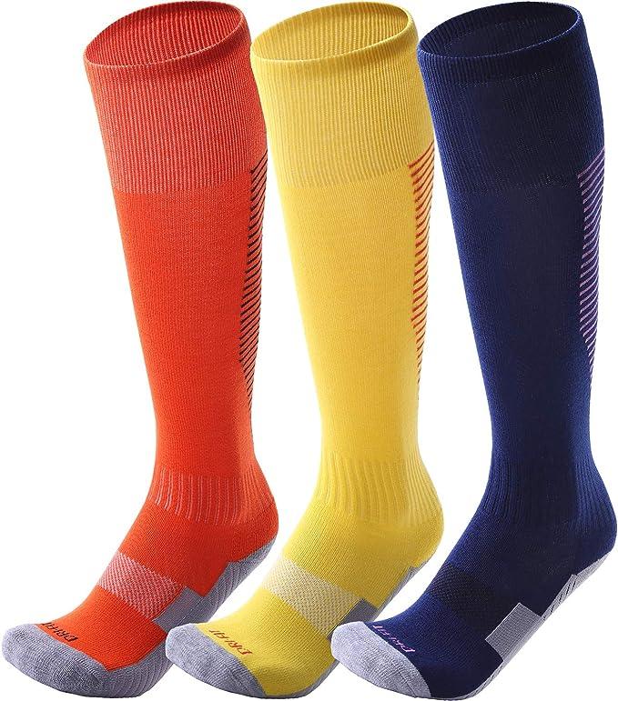 CWVLC Soccer Socks 1//3//5 pairs Team Sport Knee High Socks for Adult Youth Kids