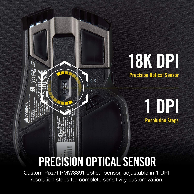 18,000 DPI Optical Sensor Corsair Ironclaw RGB Black Backlit RGB LED FPS and MOBA Gaming Mouse