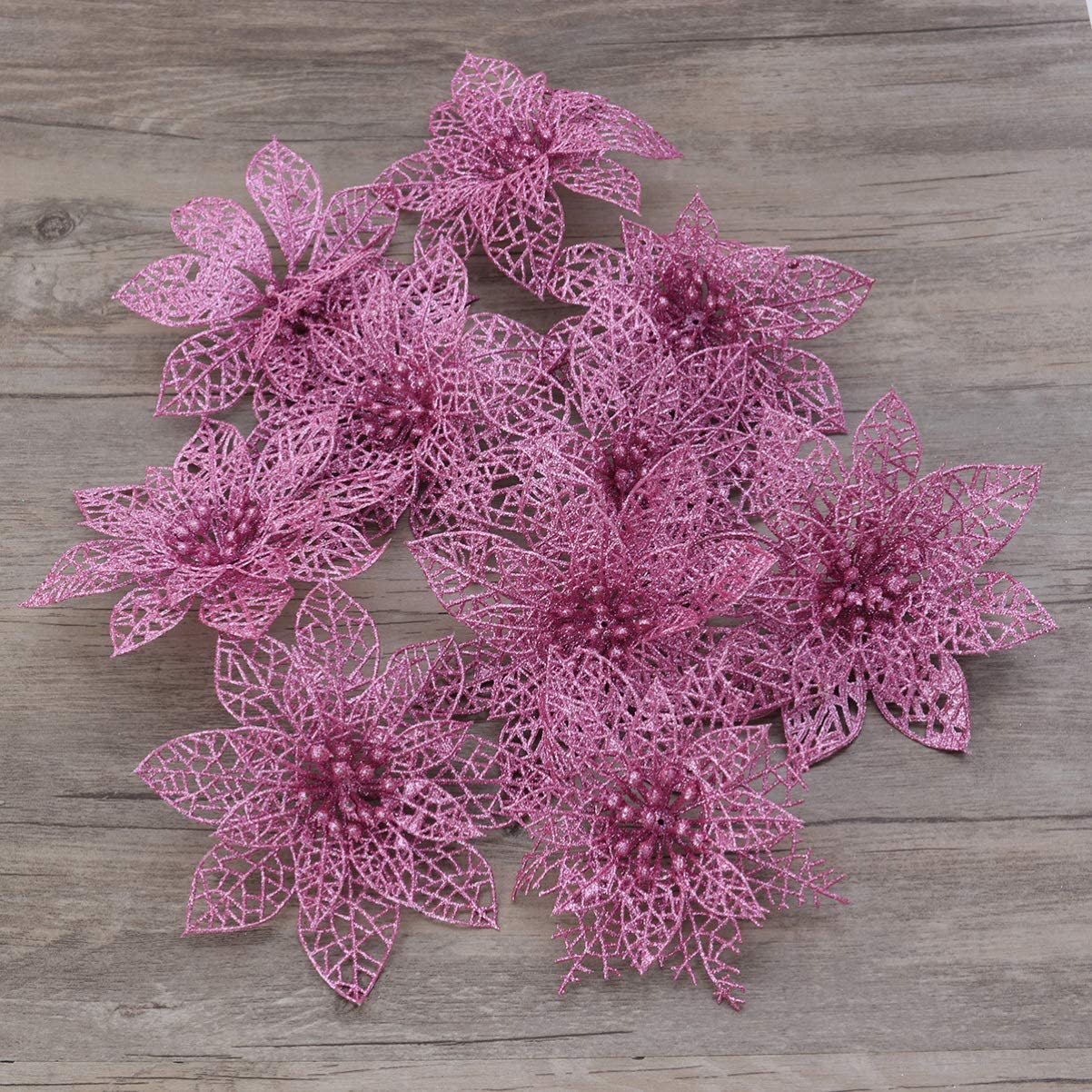 Pink NOBRANDED 10 Pieces Glitter Poinsettia Christmas Tree Ornament Christmas Flowers Decor Ornament