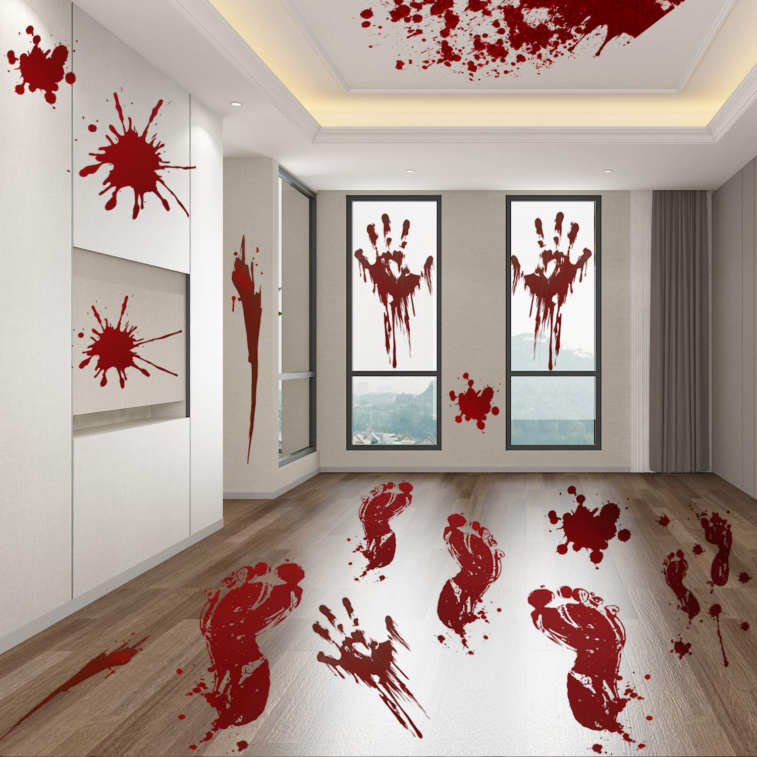 6 Sheets 78pcs Halloween Bloody Handprint Footprint Decals Stickers Decorations - Halloween Party Supplies - Vampire Zombie Fake Bloody Print For Window Wall Floor Bathtub Clings Decals Decor Jeicy