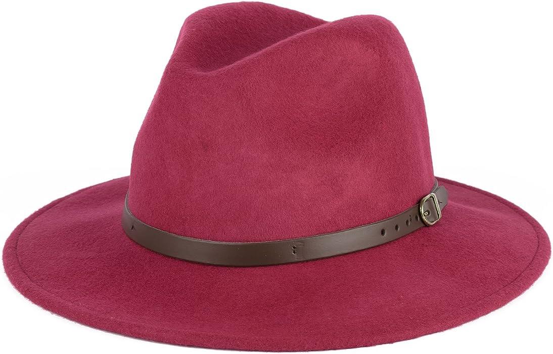 Wool Fedora Felt Trilby Hat (Ruby red 92f4e5ea2dfa