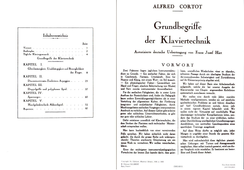 Grundbegriffe der Klaviertechnik Klaviernoten Cortot Musiknoten