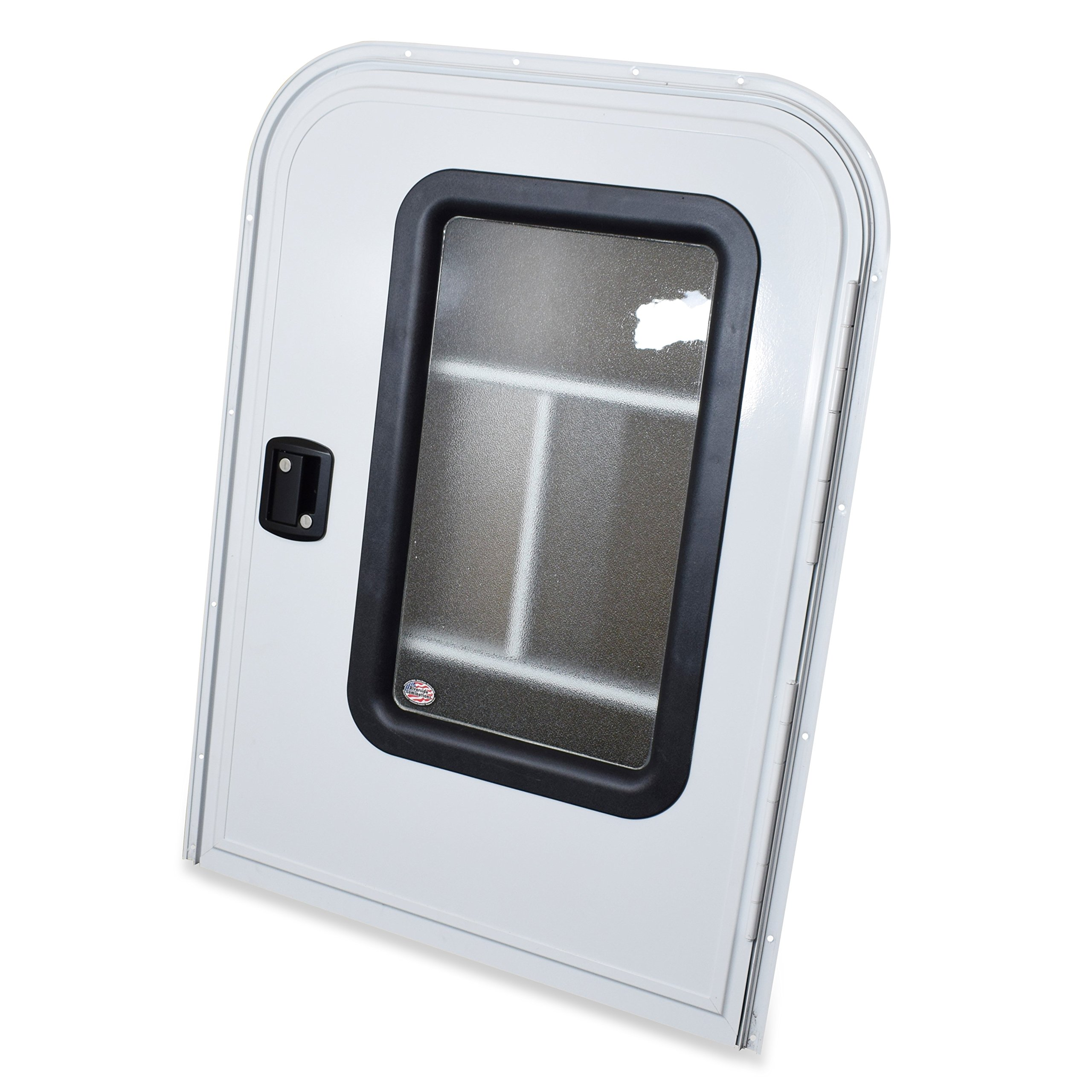 LeisureRV Teardrop 26'' x 36'' Face Mount Foam Core Passenger Side Door with Radius Corners on Top and Square Bottom with Screen Door (White, 26'' w X 36'' h Pass Side)
