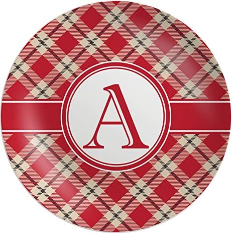 Red \u0026 Tan Plaid Melamine Plate (Personalized)  sc 1 st  Amazon.com & Amazon.com | Red \u0026 Tan Plaid Melamine Plate (Personalized): Dinner ...