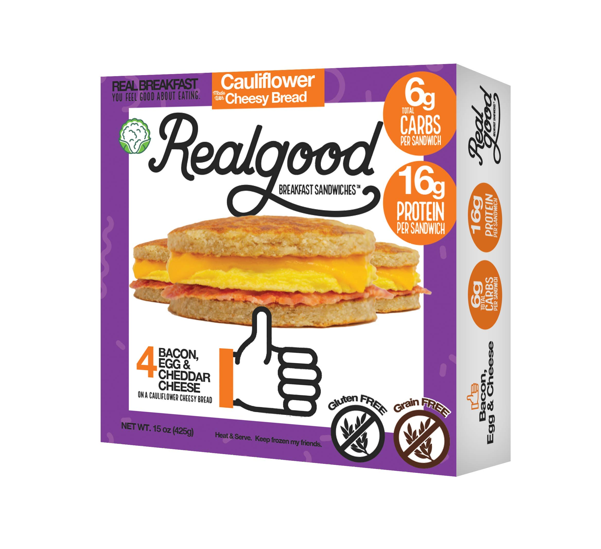 Real Good Foods, Low Carb - High Protein - Gluten Free - Bacon, Egg & Cheese Breakfast Sandwiches (20 per case) by Real Good Foods