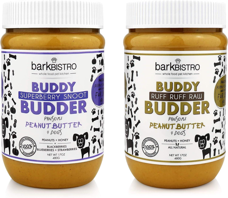 Bark Bistro Company, SUPERBERRY SNOOT + RUFF RUFF RAW BUDDY BUDDER, Dog Peanut Butter, Healthy Dog Treats, Peanut Butter Dog Treats - Made in USA (Set of 2 / 17oz Jars)