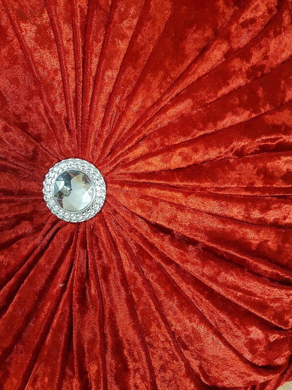 Diamond Stitched Filled Velvet Cover Round Cushion Sofa Cushion Bed Cushion Soft Chair Cushion Small 15 Round, Black