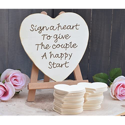 Sign a Heart to Give the Couple a Happy Start Guest Book Alternative - Rustic Wedding - Guest Book - Rustic Guest Book - Wedding Guest Book - Wedding Wishing Well