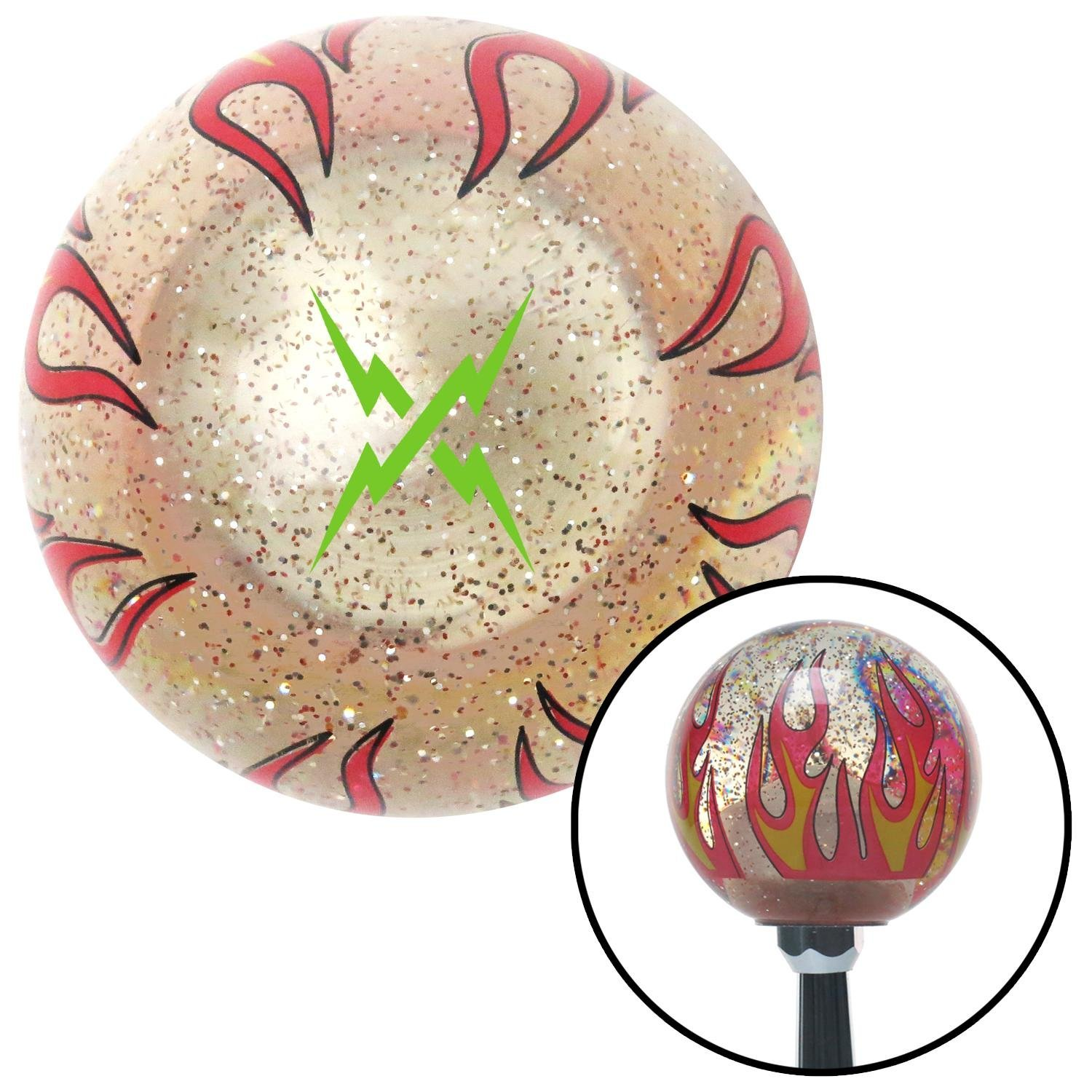 American Shifter 295879 Shift Knob Green Lightning Crossed Clear Flame Metal Flake