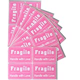 """Fragile Lables Pink,MeshaKippa 2x3"""" 200pcs Cute Pink Fragile Stickers Personal Stickers for Shipping Box,Personal Mailing,Gir"""