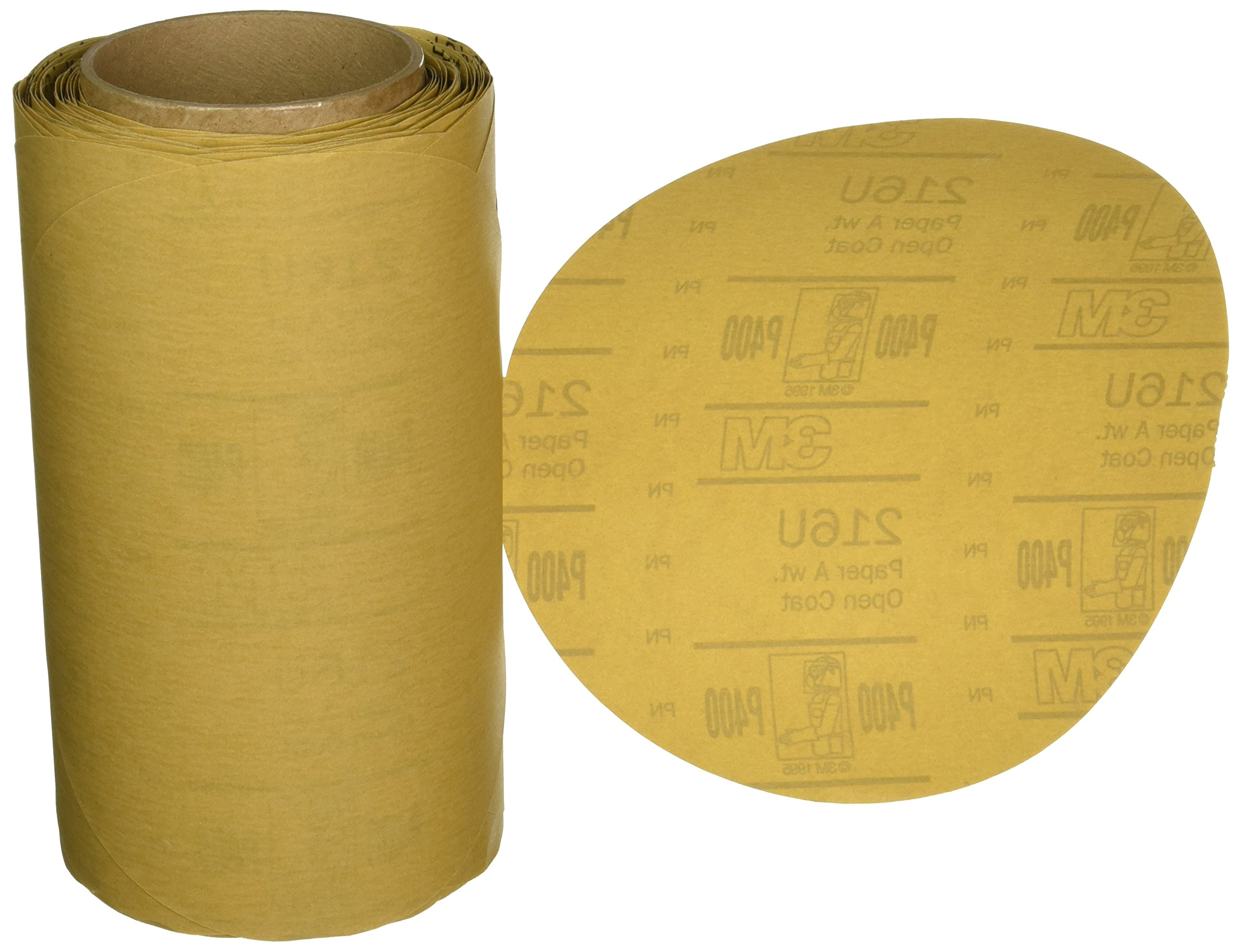 3M Stikit Gold Paper Disc Roll 216U, Aluminum Oxide, 8'' Diameter, P400 Grit (Roll of 125)