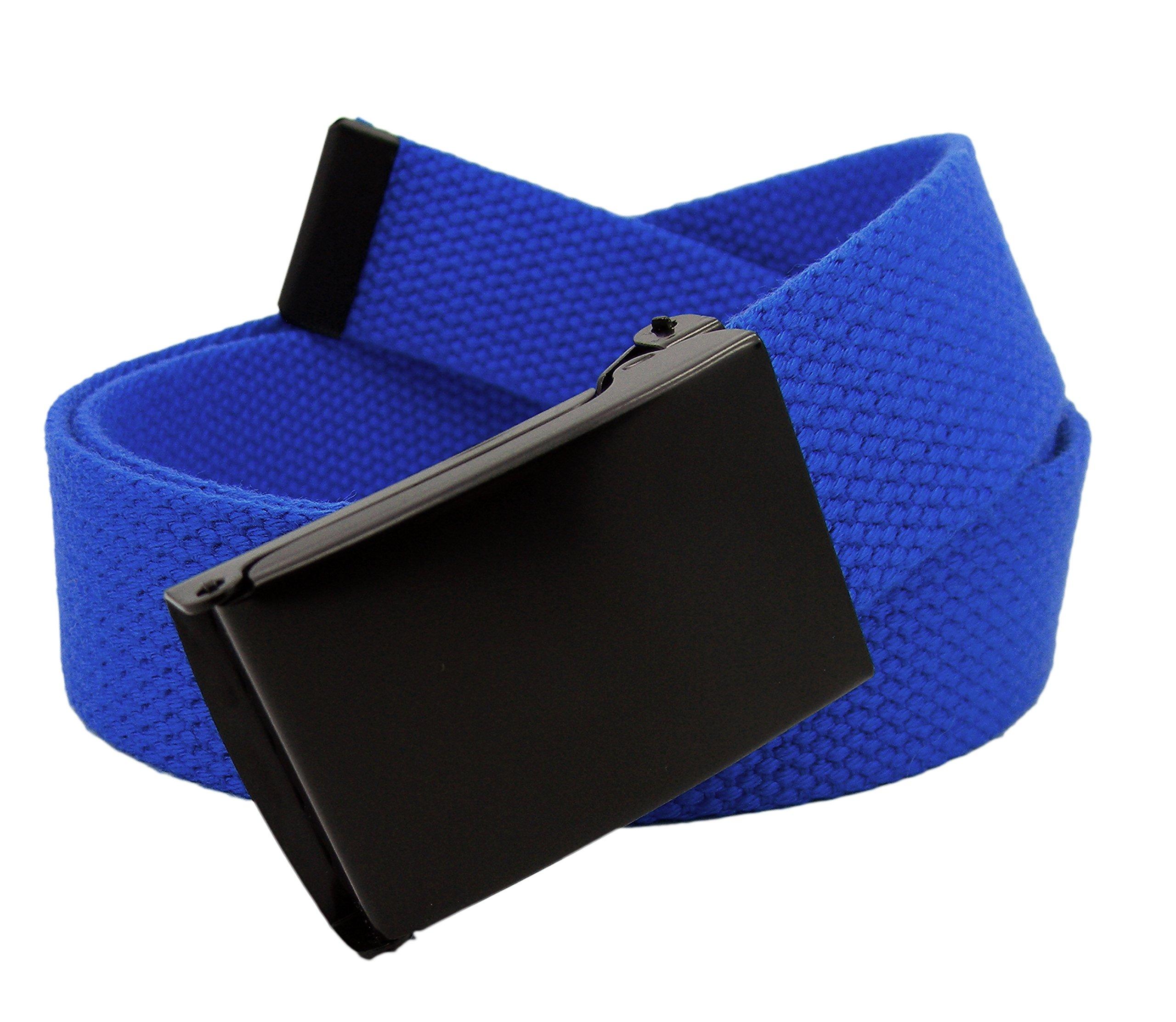 Boy's School Uniform Black Flip Top Military Belt Buckle with Canvas Web Belt Small Tardis Blue