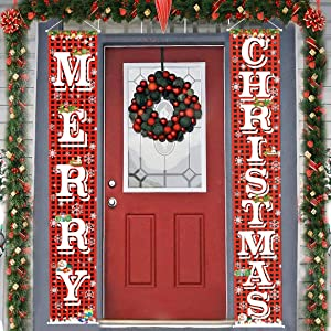 "FECEDY Merry Christmas Hanging Banner Porch Sign with Pattern Christmas Tree Presents Snow Banner for Home Yard Indoor Outdoor Wall Door Christmas Party Decorations 72""x12"""