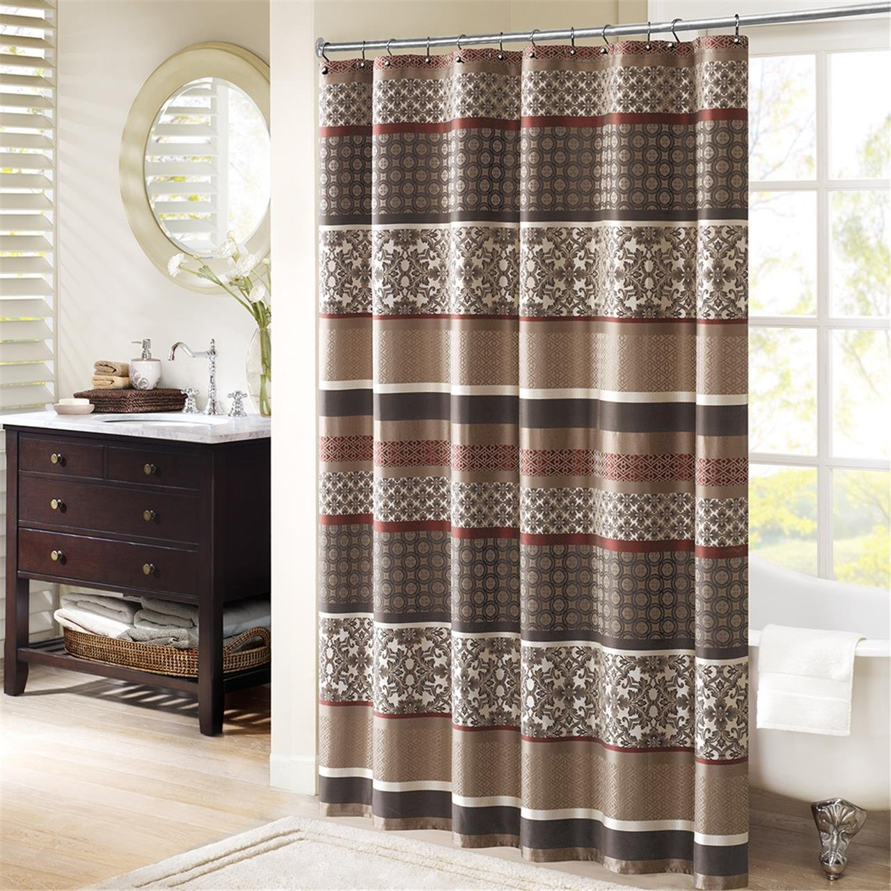 Amazon Com Princeton Jacquard Shower Curtain Blue 72x72 Home
