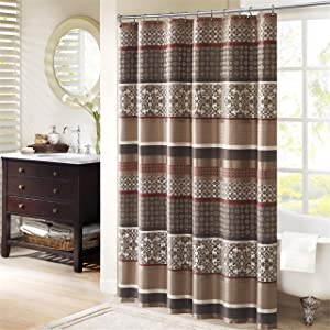 Madison Park Princeton Geometric Jacquard Fabric Shower Curtain, Transitional Shower Curtains for Bathroom, 72 X 72, Red