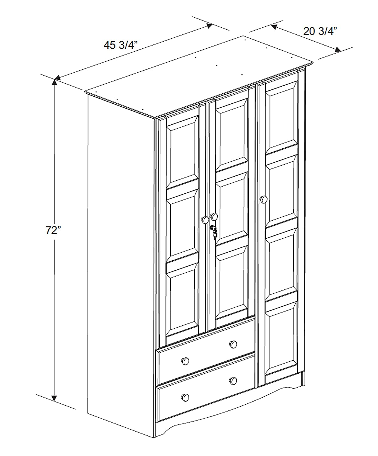 100 Solid Wood Grand Wardrobe Armoire Closet by Palace Imports, White, 46 W x 72 H x 21 D. 4 Small Shelves, 1 Clothing Rod, 2 Drawers, 1 Lock Included. Additional Large Shelves Sold Separately.