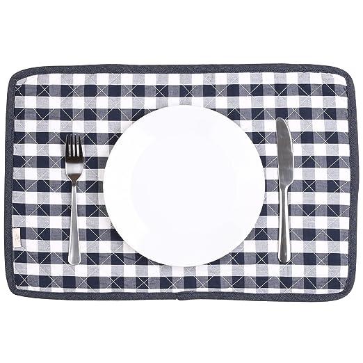 juego de 4 dise/ño de rayas efecto tiza en tela vaquera Manteles individuales acolchados para mesa de cocina Neoviva