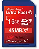eMemoryCards 16GB Ultra Fast 45MB/s SD SDHC Memory Card For Nikon COOLPIX A10 Camera