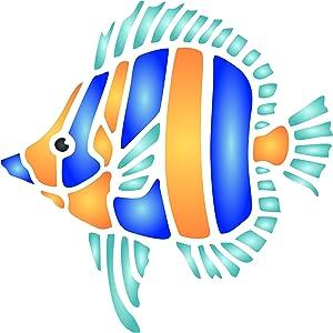 Fish Stencil, 3.25 x 3.25 inch (S) - Sea Ocean Nautical Seashore Reef Fish Stencils for Painting Template