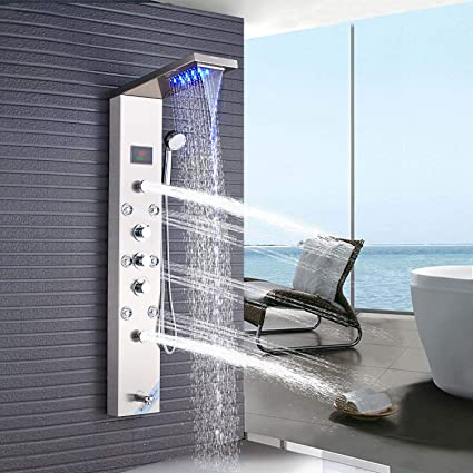 Home Plumbing & Fixtures ELLO&ALLO Stainless Steel Rainfall Waterfall Shower Panel Tower Rain Massage Jet