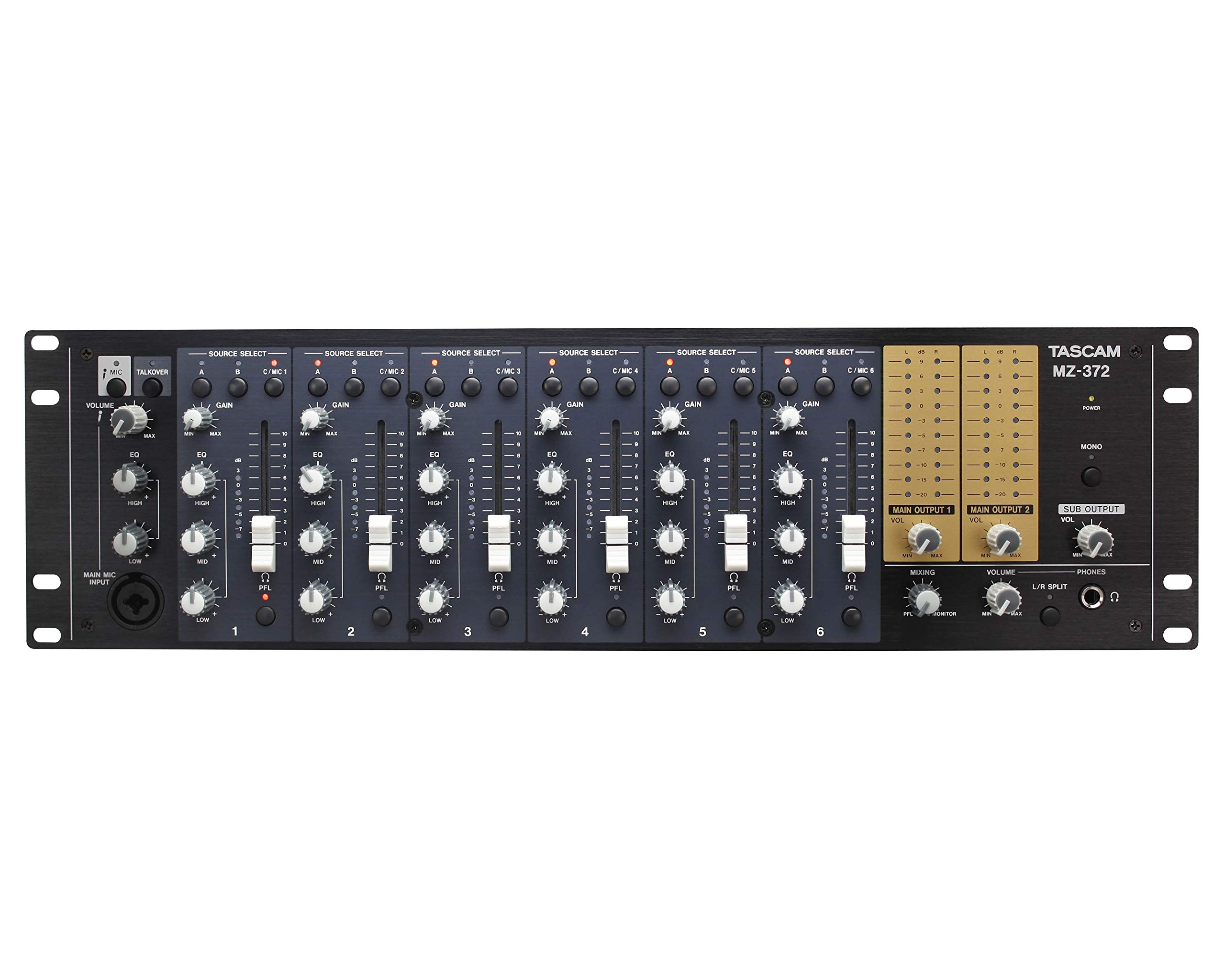 Tascam MZ-372 7-Channel Rackmount Zone Audio Mixer With Voice Priority