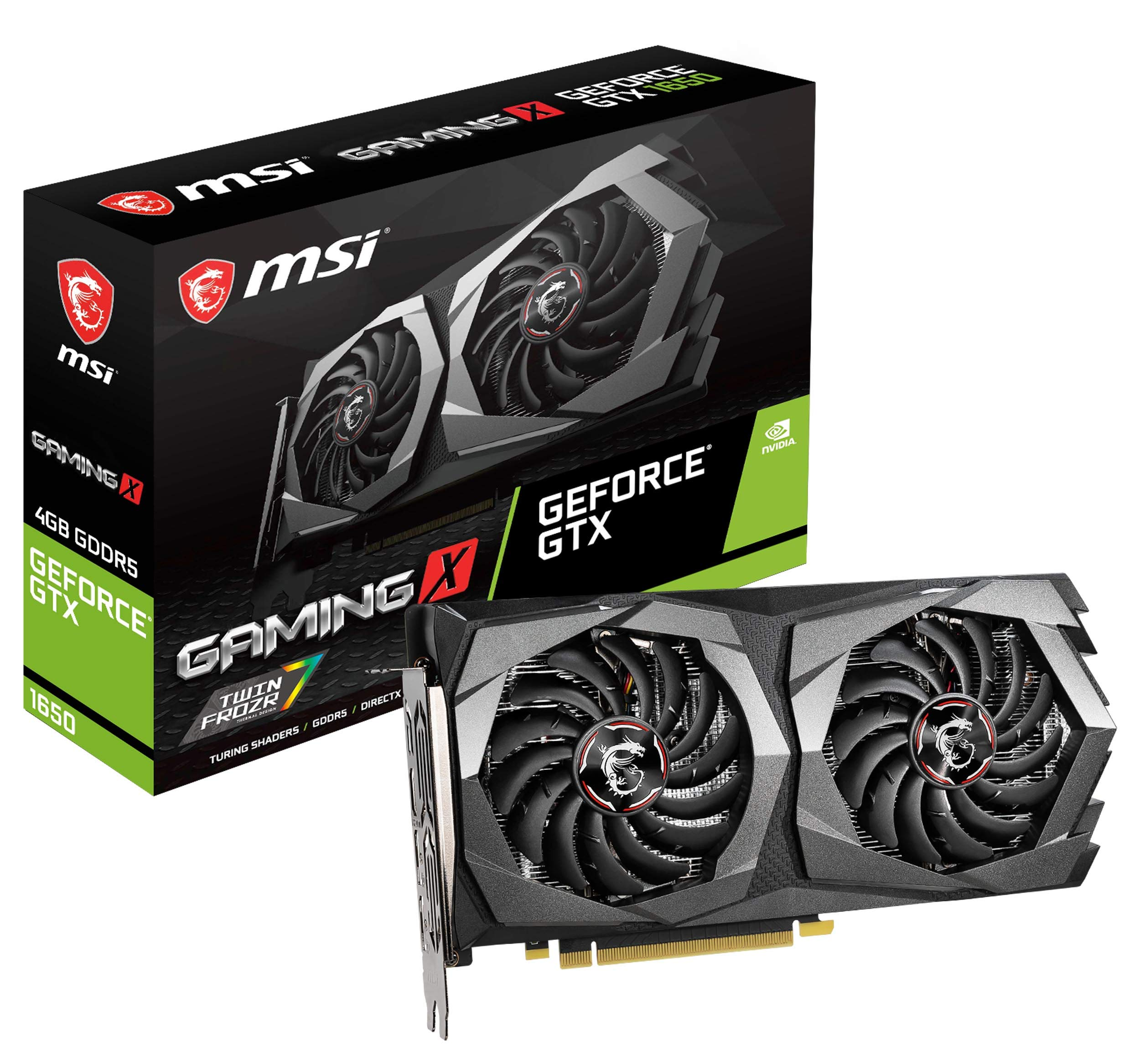 MSI Gaming GeForce GTX 1650 128-Bit HDMI/DP 4GB GDRR5 HDCP Support DirectX 12 Dual Fan VR Ready OC Graphics Card (GTX 1650 Gaming X 4G) by MSI