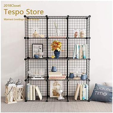 Tespo Wire Storage Cubes Modular Shelving Unit DIY Metal Grid Closet Organizer System, Bookcase, Cabinet (12 Cubes)