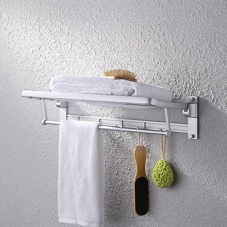 KES Aluminum Bathroom Shelves Towel Rack with Folding/Swivel Towel ...